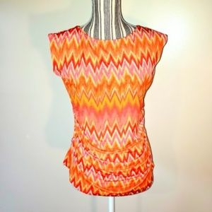 Vince Camuto Chevron Rouched Blouse Orange Pink